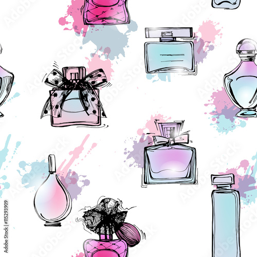 Cotton fabric Seamless pattern with beautiful bottles of perfume. Women's perfume. Vector watercolor.