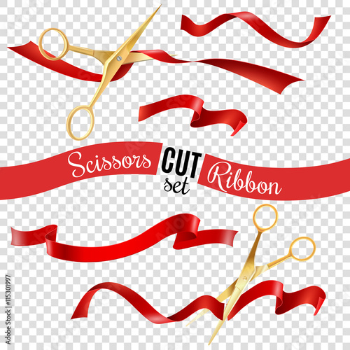 Carta da parati  Scissors And Ribbon Transparent Set