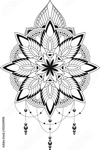 Tattoovorlage Spitzen Muster Mandala Style