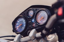 Classic Motorbike Control Panel At Rain