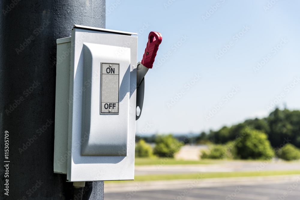 Photo & Art Print ON/OFF Lever On Utility Pole Horizontal With Copy