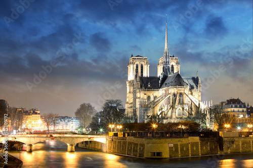 Staande foto Parijs Notre Dame Cathedral at dusk in Paris, France