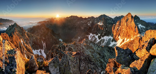 Mountain sunset panorama landscape in Tatras, Rysy, Slovakia