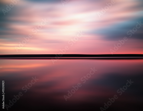 Poster Rose clair / pale Vivid sunset sunrise horizon lake reflections landscape abstract