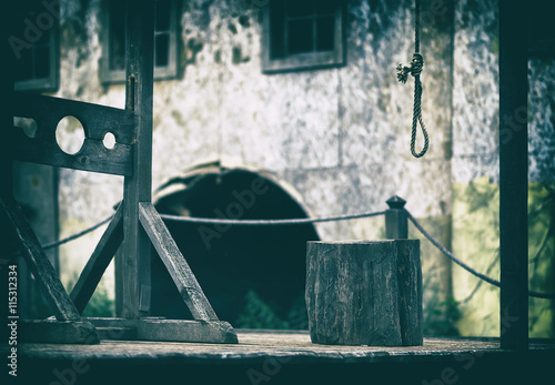 Horizontal empty blank medieval scaffold gallows design element Fototapet