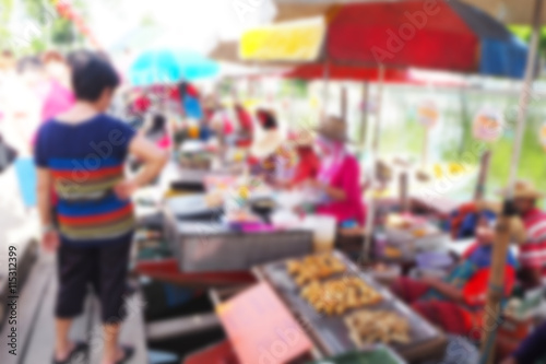 Blurred abstract background of Floating Market in Thailand Canvas Print