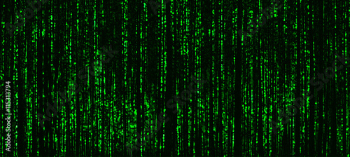 Photo Horizontal vivid green matrix neo cyberpunk hacker terminal abst