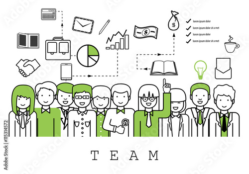 Fototapety, obrazy: Business People Team-On White Background-Vector Illustration, Graphic Design.Business Concept For Web,Websites,Magazine Page,Print Materials