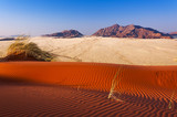 Detail of a red dune and mountains in Namibia, Africa