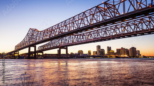 Crescent City Connection Bridge & New Orleans City Skyline at Night Canvas Print