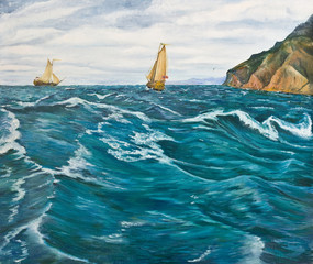 FototapetaOil painting. Sailboats in the stormy sea