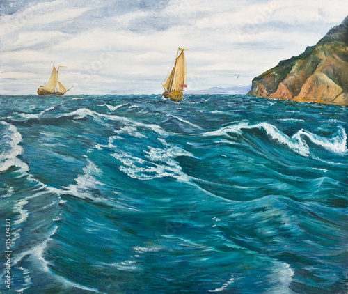 Oil painting. Sailboats in the stormy sea - 115324371