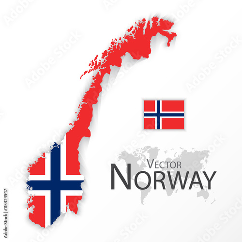 Photo  Norway ( Kingdom of Norway ) ( flag and map ) ( transportation and tourism conce