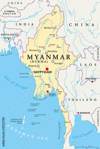 Tela Myanmar political map with capital Naypyidaw, national borders, important cities, rivers and lakes