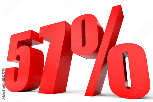 Fotografie, Obraz  Discount 57 percent off. 3D illustration.