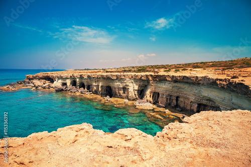 Foto op Canvas Cyprus Igneous rocky sea coast