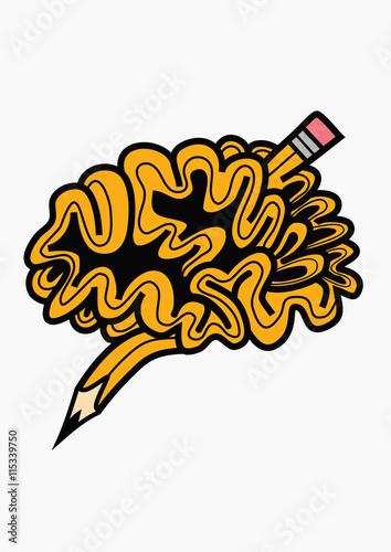 Brain pencil idea Canvas Print