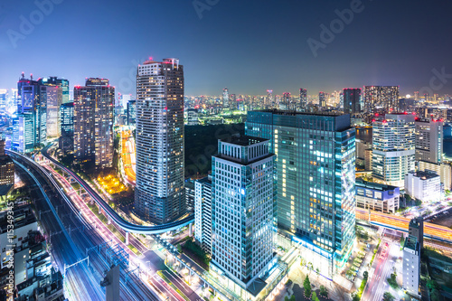 Photo  modern office buildings in downtown of tokyo at twilight