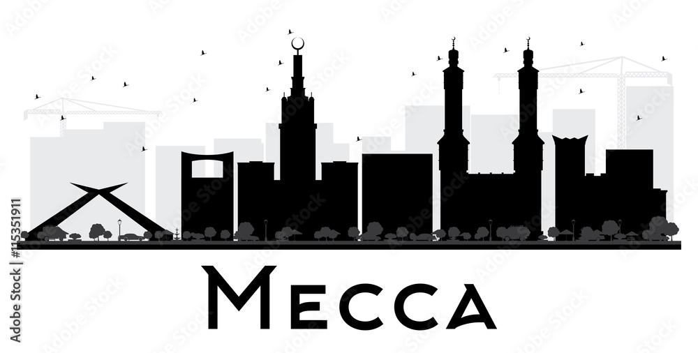 Photo & Art Print Mecca City skyline black and white silhouette ...