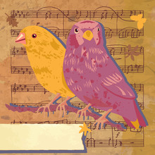 Vintage Collage With Two Birds, Butterflies, And Sheet Music; Ve