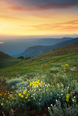 Obraz Mountains during sunset. Beautiful natural landscape in the summer time..