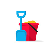 Bucket And Spade With Sand Vector Illustration Flat Icon Isolated, Kid Toys Tools Symbol, Pail Shovel Label, Bucket And Spade Modern Design Banner, Sandbox Place Sign Ribbon Design Concept