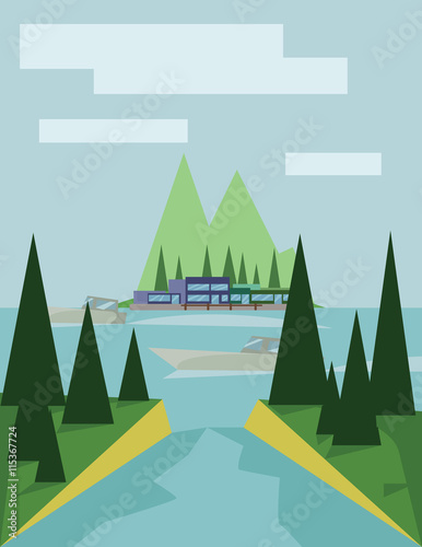Tuinposter Lichtblauw Abstract landscape design with green trees, clouds, a boat on a lake, view to island, flat style. Digital vector image.