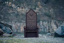 Black Gothic Throne Against The Dark Rocky Mountains, Vampire, Hip Toning, Creative Color, Dark-Boho