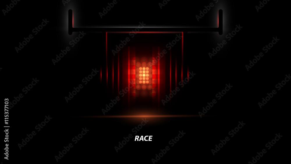 Poster Racing Car Backlight F1 Spotlight Abstract Dark Background Nikkel Art
