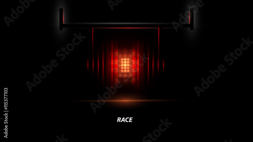 Spoed Foto op Canvas F1 Racing car backlight. F1 spotlight. Abstract dark background