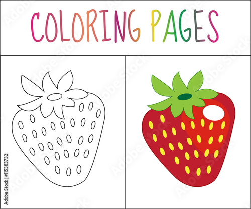 Coloring Book Page. Strawberry. Sketch And Color Version. Coloring For  Kids. Vector Illustration - Buy This Stock Vector And Explore Similar  Vectors At Adobe Stock Adobe Stock