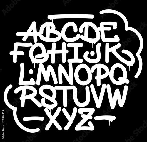 Hand style graffiti font alphabet. Vector