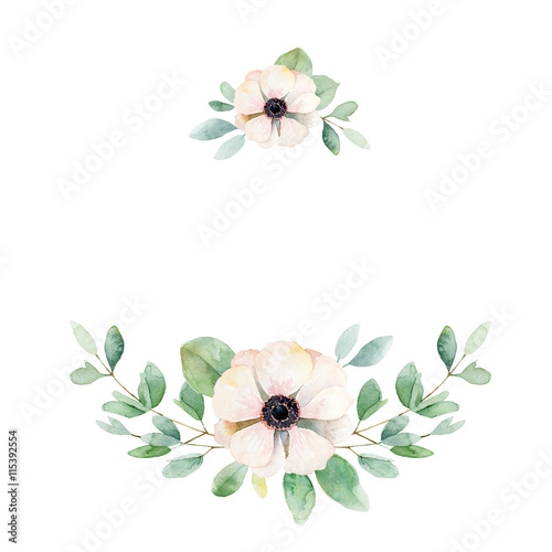 Photo  Floral composition with anemone and leaves