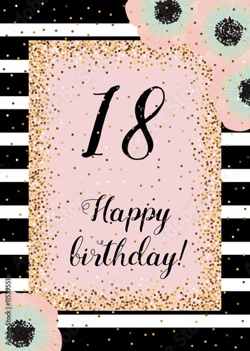 Cute happy birthday card with golden decoration, black stripes and ...