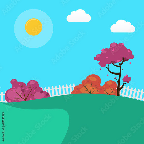 Spoed Foto op Canvas Turkoois Countryside Landscape Background with Sunny Sky and Trees. Vector illustration