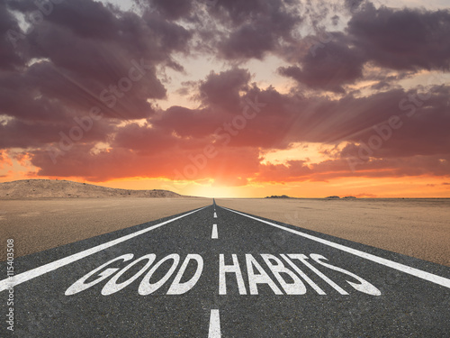 Fotografie, Obraz  Good Habits text on highway success concept