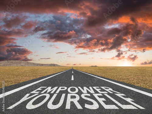 Foto op Canvas Route 66 Empower Yourself motivational quote