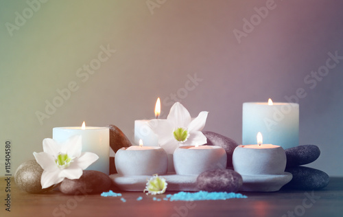 Foto op Plexiglas Spa Beautiful spa composition on dark background
