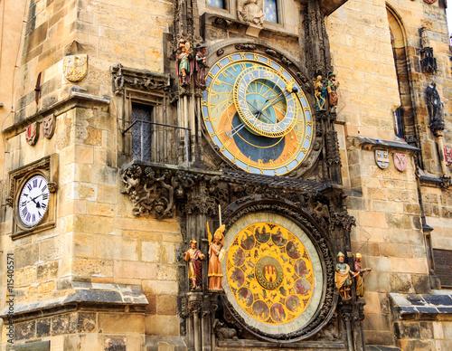 Foto op Aluminium Praag Historical medieval astronomical clock in Old Town Square in Prague, Czech Republic