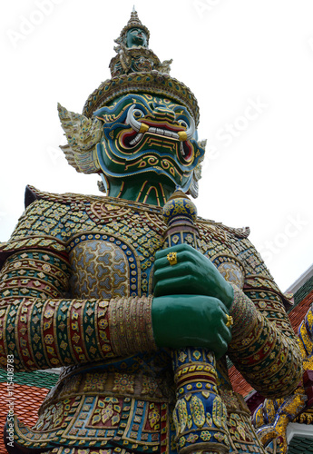 Giant yaksha demon guardian statue at the historic Grand Palace in Bangkok, Thai Poster