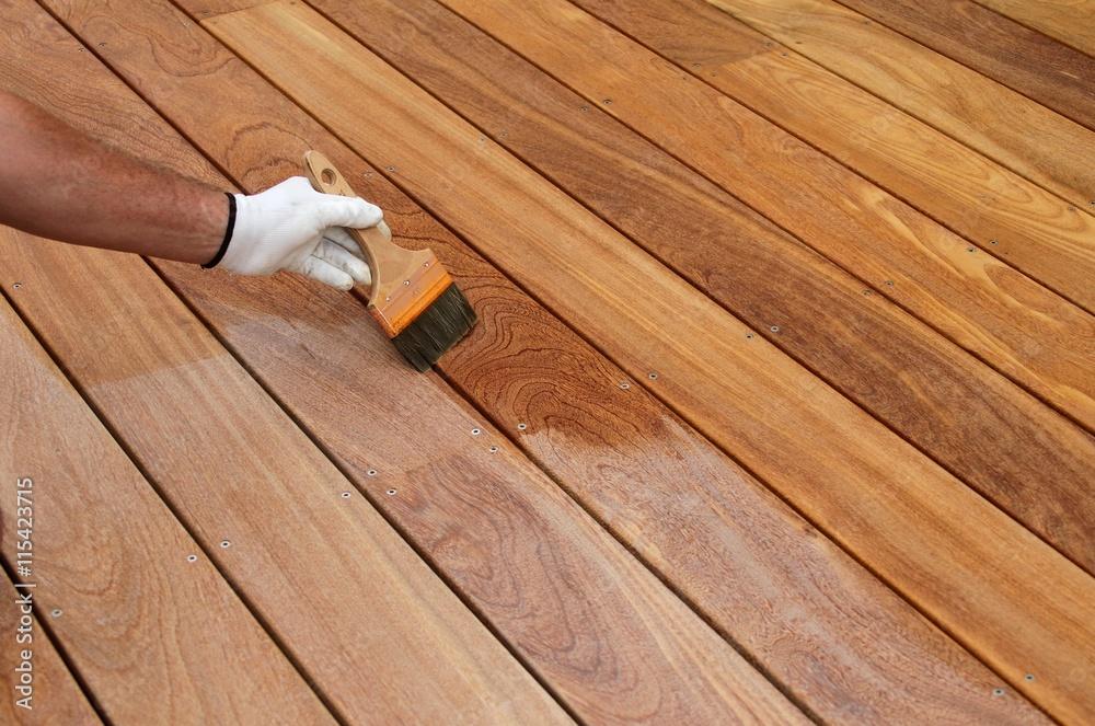 Fototapeta réalisation d'une terrasse en bois exotique
