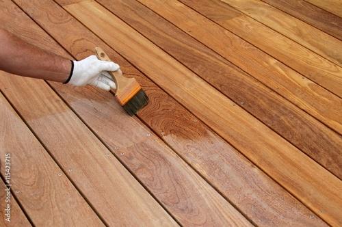 Fototapeta réalisation d'une terrasse en bois exotique obraz