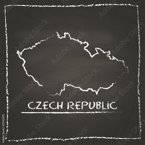 Czech Republic outline vector map hand drawn with chalk on a blackboard Poster