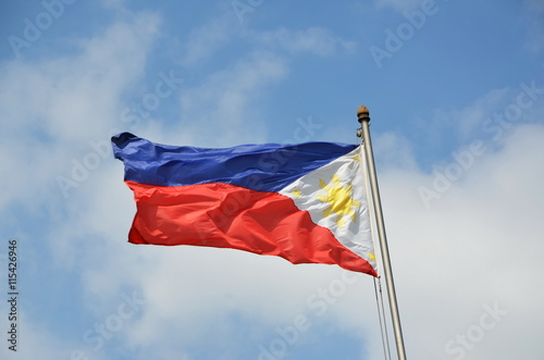 National flag of Philippines on the sky background