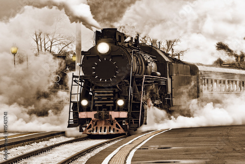 Retro steam train. Wallpaper Mural