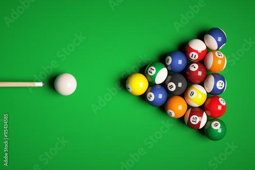 Fotomural Cue aim billiard snooker pyramid on green table. 3d illustration