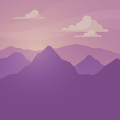 Vector Illustration of a Landscape with Huge Mountains