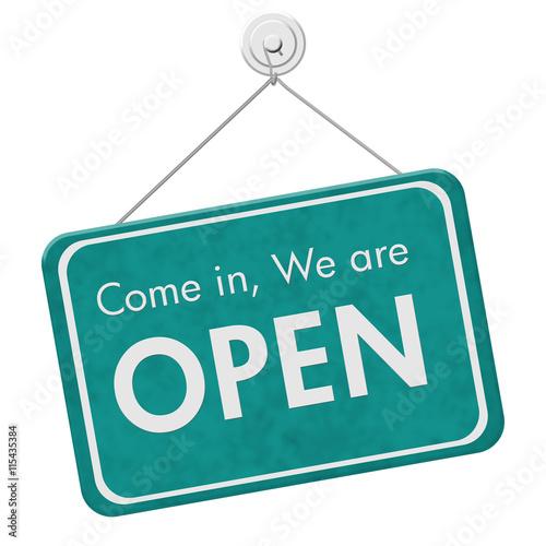 Fotografie, Obraz  Come in We are Open Sign