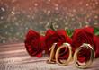 Leinwanddruck Bild - birthday concept with red roses on wooden desk. hundredth. 100th. 3D render