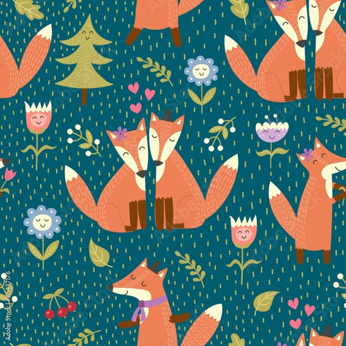 Cotton fabric Seamless pattern with cute foxes in the woods. Vector forest texture